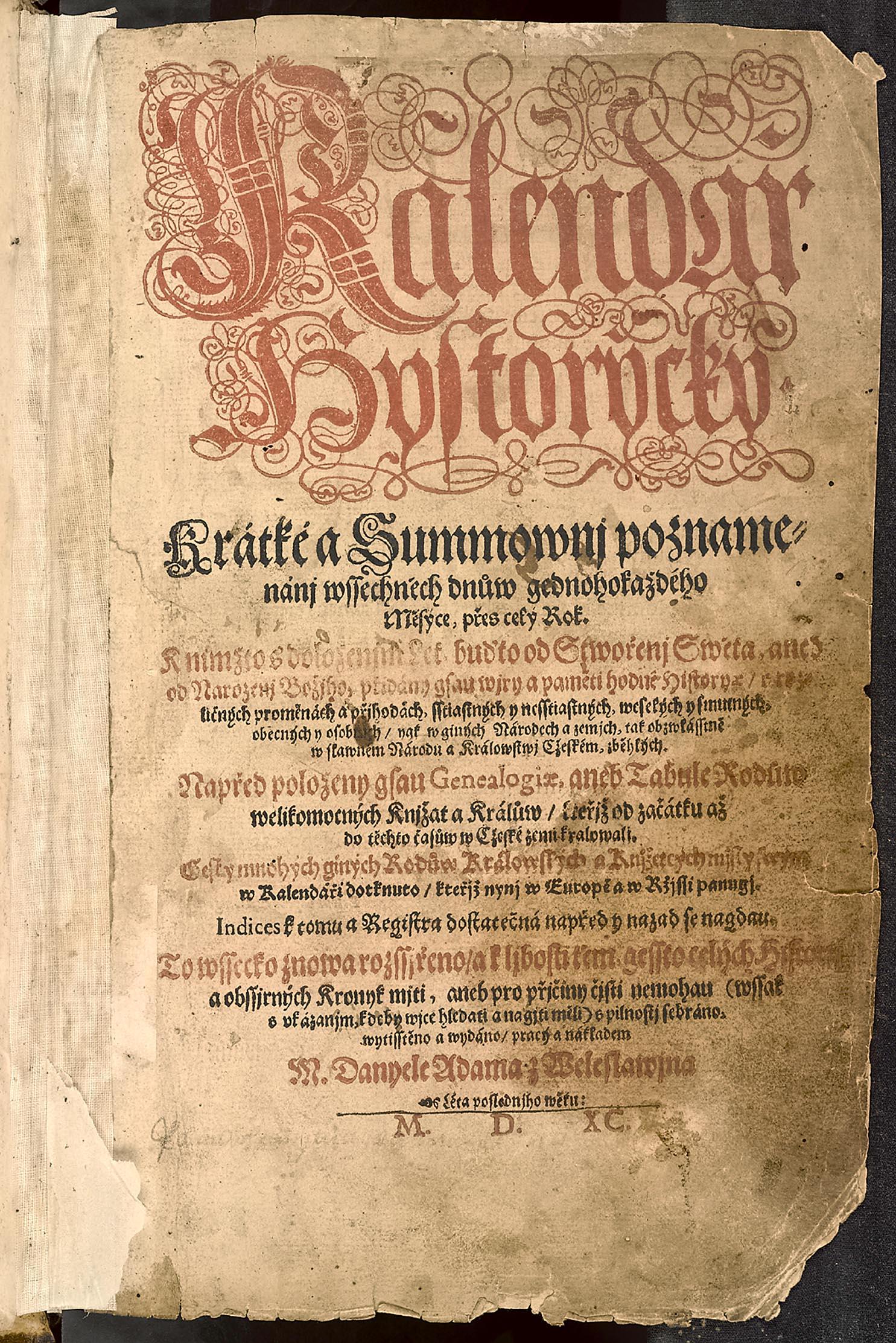Daniel Adam z Veleslavína: Kalendář historický s historickými poznámkami z let 1592-1805