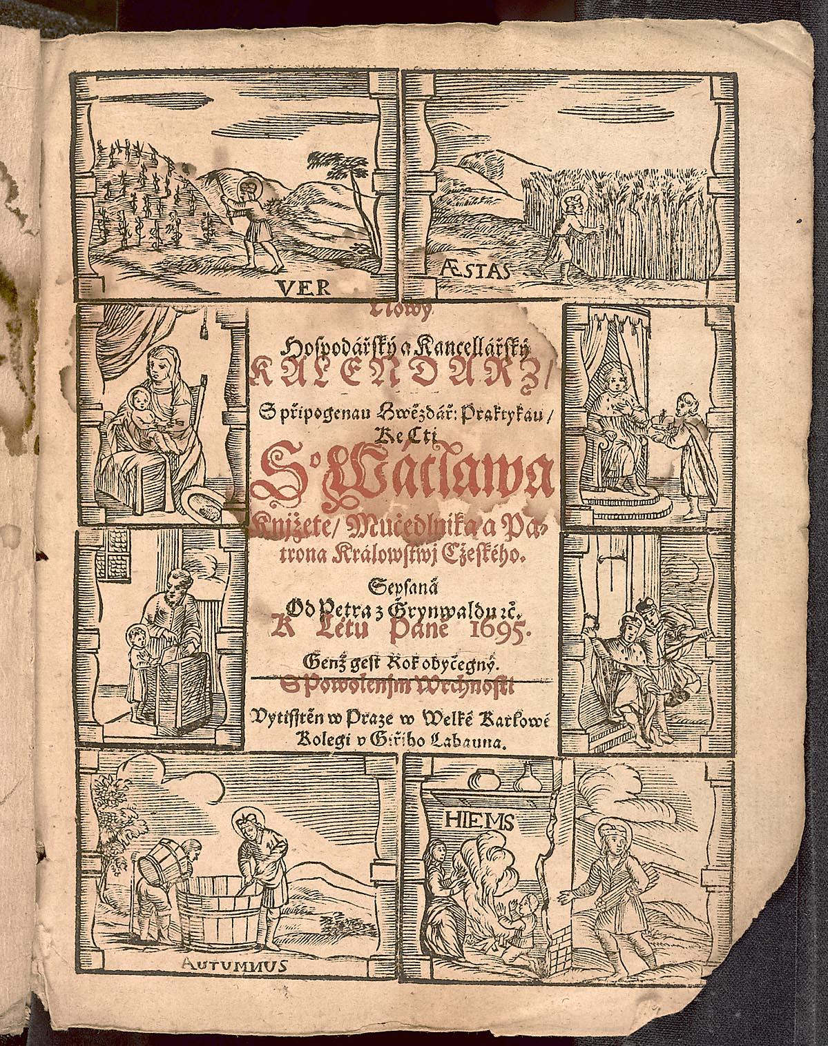 Petr Gruenwald: Nový hospodářský a kancelářský kalendář k létu Páně 1695